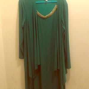 Green Dress with Gold Chain Embellishment.